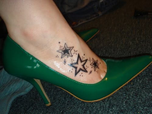 New Lovely Moon And Star Tattoos On Ankle