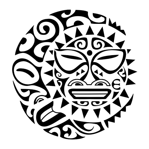New Maori Tribal Sun Tattoo Design