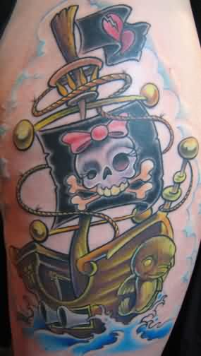 New Pirate Ship Tattoo For Girls