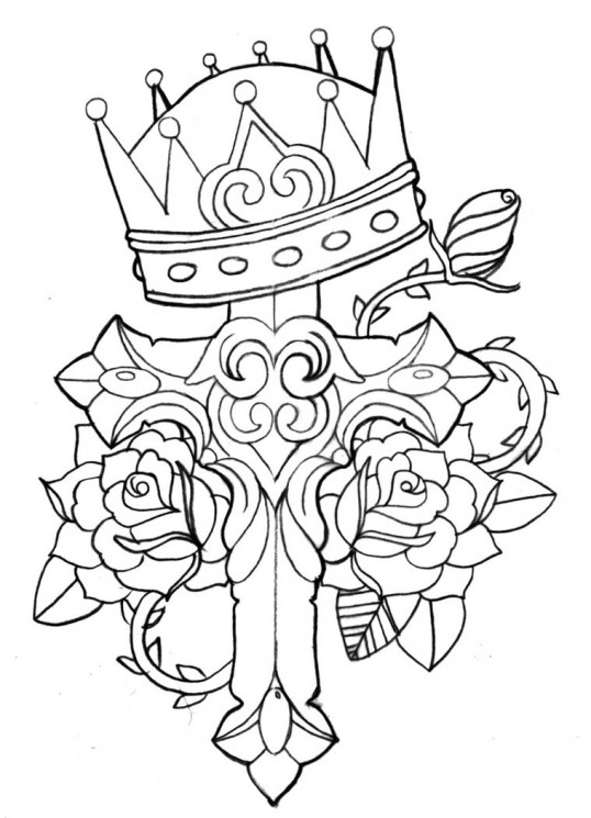 New Queen Crown And Banner Tattoo Designs