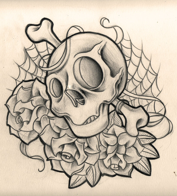 New Roses And Skull Tattoo Designs
