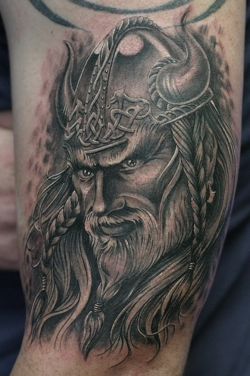 New School Warrior Viking Tattoo On Shoulder