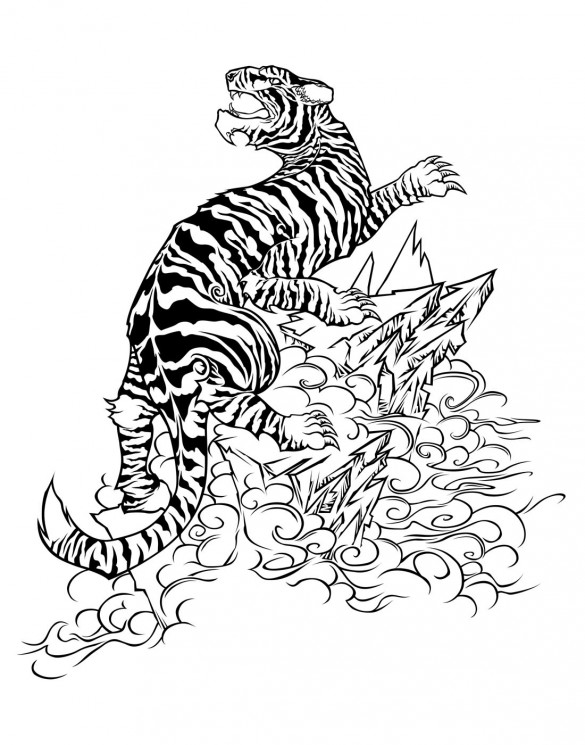 New Style Angry Tiger Tattoo Design