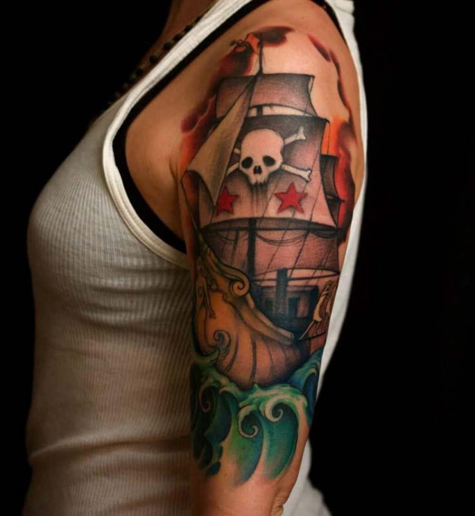New Style Ship Tattoo On Sleeve