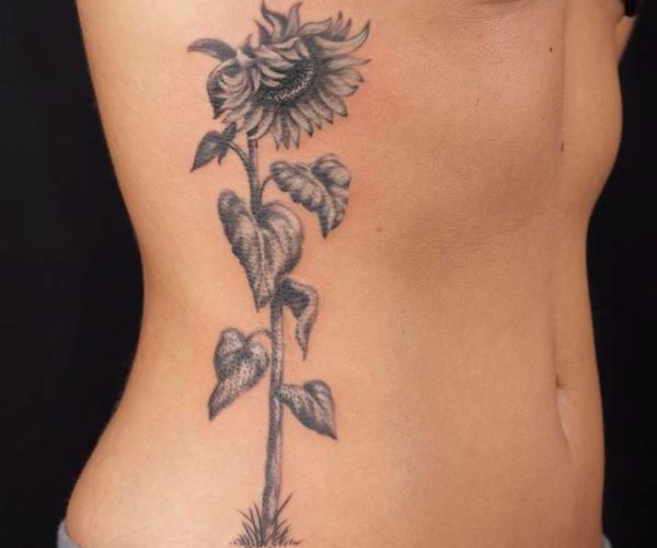 New Sunflower Tattoo On Ribs