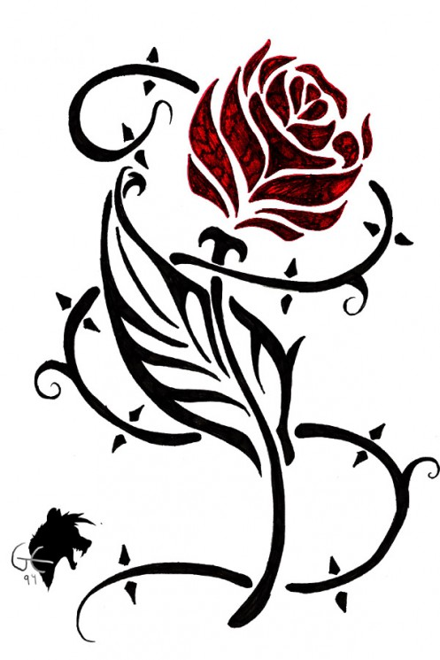 New Tribal Rose Tattoo For Everyone