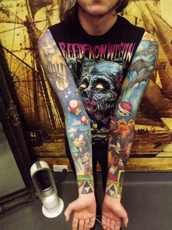 New Video Game Half Sleeve Tattoo Style For Men