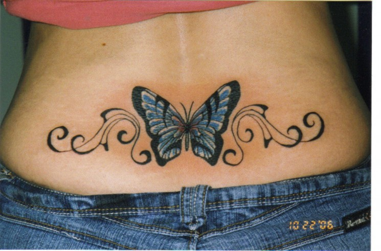 New style Butterfly Tattoo On Lower Back