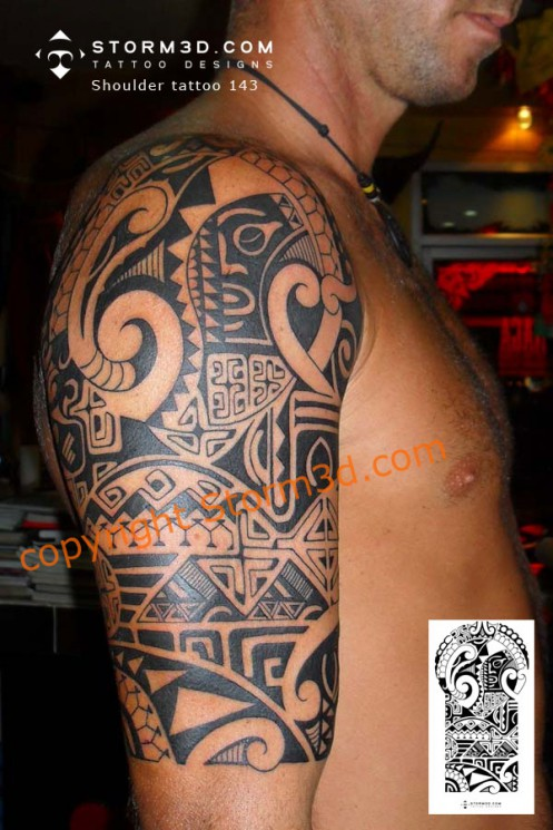 Nice Black Polynesian Shark Tattoo On Leg