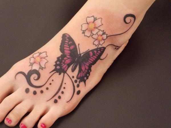 Nice Butterfly Foot Tattoo Design