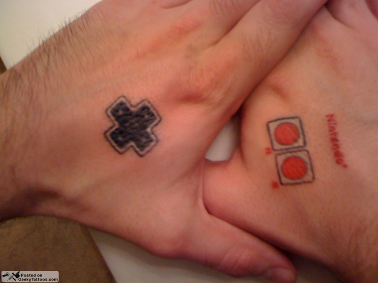 Nice Game Controller Tattoo For Neck