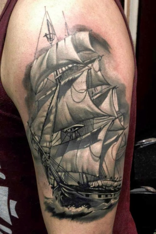 Nice Grey Ink Pirate Ship Tattoo And Nipple Piercing