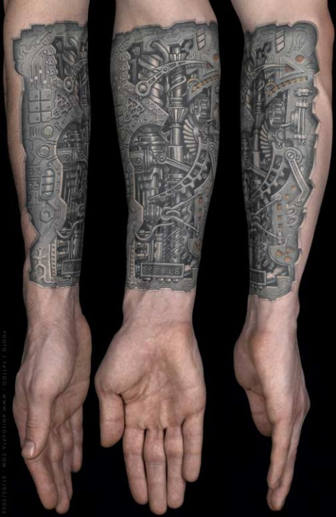 Nice Grey Ink Torn Ripped Skin Biomechanical Tattoos For Men