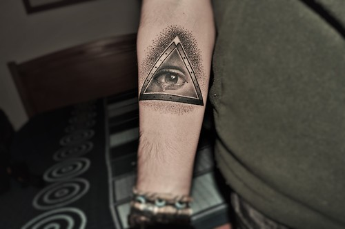 Nice Grey Ink Triangle Eye Tattoo On Forearm In 2017 Real Photo
