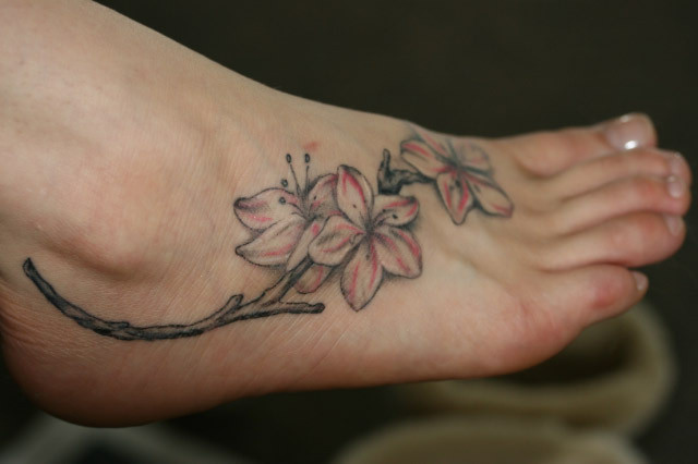 Nice Lily Tattoo On Foot For Girls