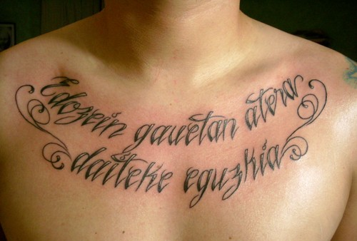 Nice Literary Tattoo On Right Collarbone