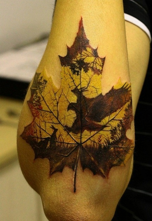 Nice Maple Leaf Tattoo