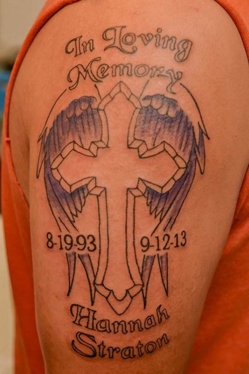 Nice Memorial Cross Tattoo Design