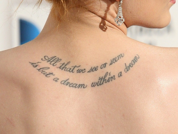 Nice Quote Tattoo On Left Collarbone
