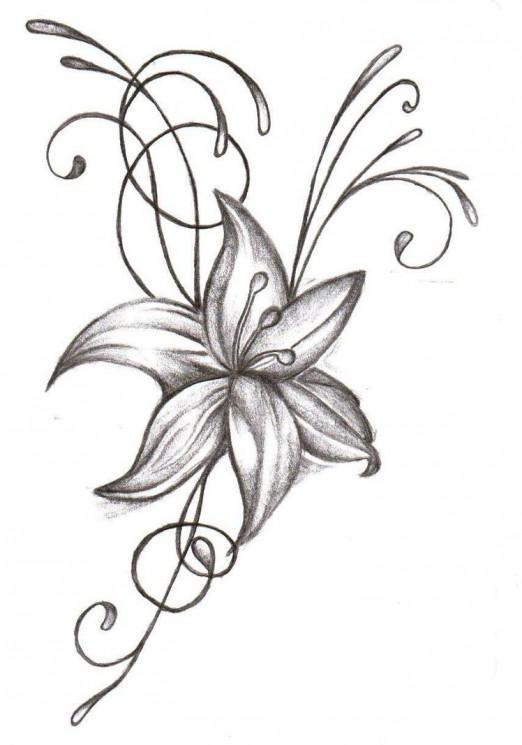 Nice Realistic Orchid Flower Tattoos On Side
