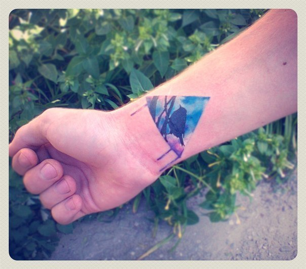 Nice Triangle Tattoo On Inner Wrist