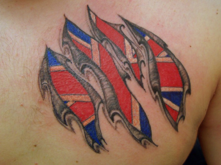 Norsk Flag Tattoo On Chest