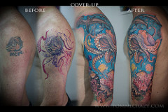 Ocean Octopus And Fishes Sleeve Tattoos