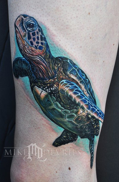 Ocean Turtle Tattoo On The Foot
