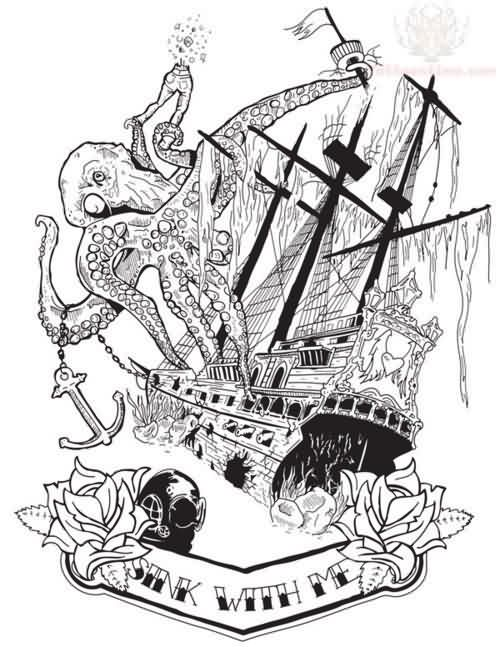 Octopus Ship And Roses Tattoo Designs