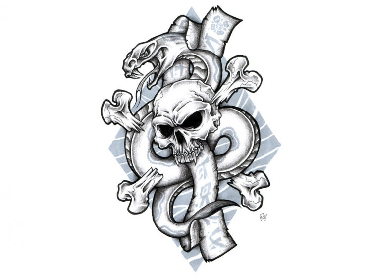 Octopus With Skull And Bones Tattoo Design