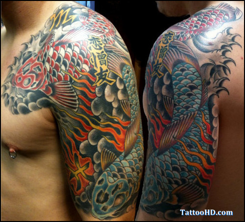 Ohm And Japanese Traditional Sleeve Tattoos