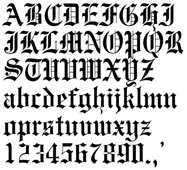 Old English Lettering Fonts Tattoo Design