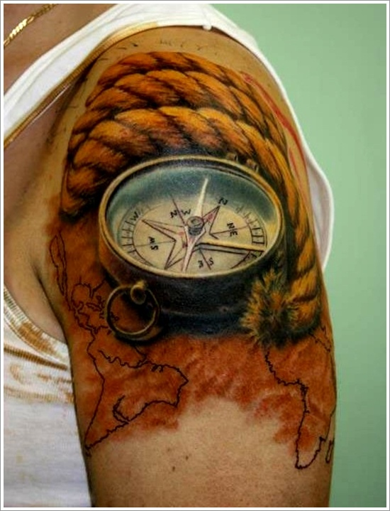 Old World Map Back Tattoo. Old Fashioned Cracked Nautical Compass Tattoo On Back photo  1 in 2017