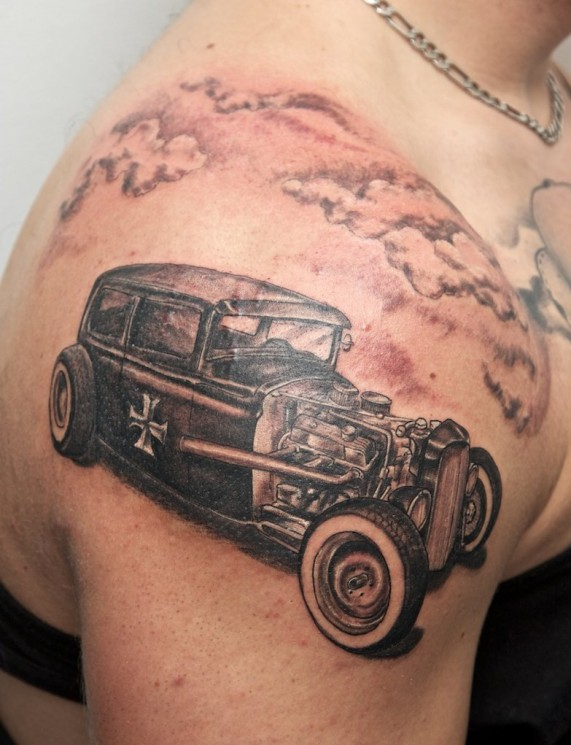 Old Hot Rod Car Tattoo On Muscles