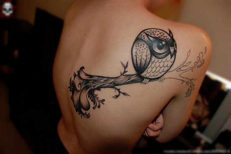 Old School Owl And Rose Tattoos On Arm