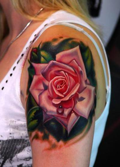 Old School Pinup On Red Rose Tattoo On Thigh