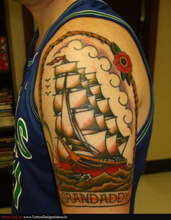 Old School Ship Tattoo On Upper Arm For Grandfather