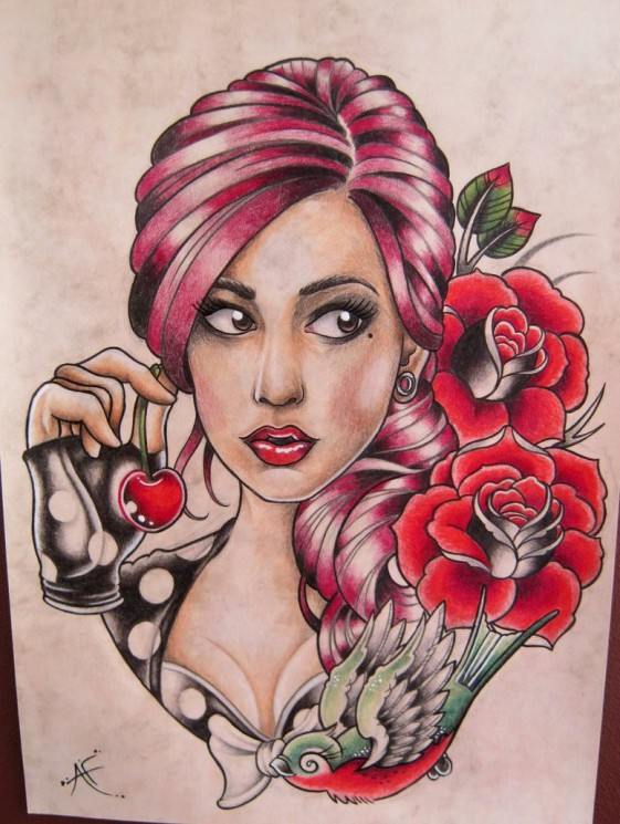 Old School Zombie Pin Up Girl Tattoos