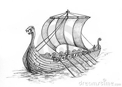 Old Viking And Longship Tattoo Sketch