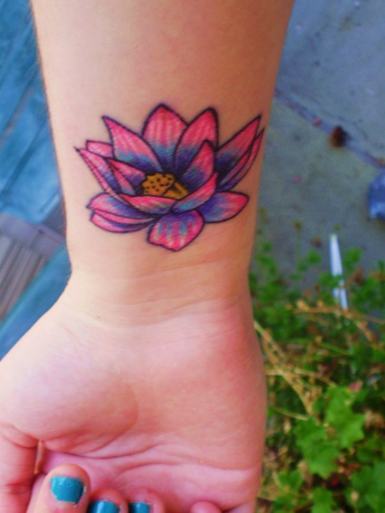 Om And Purple Lotus Tattoo On Ankle