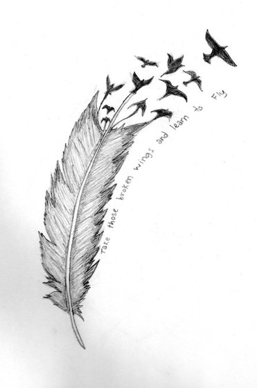 One More Feather Tattoo Drawing