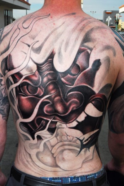 Oni Mask Tattoo On Chest For Men
