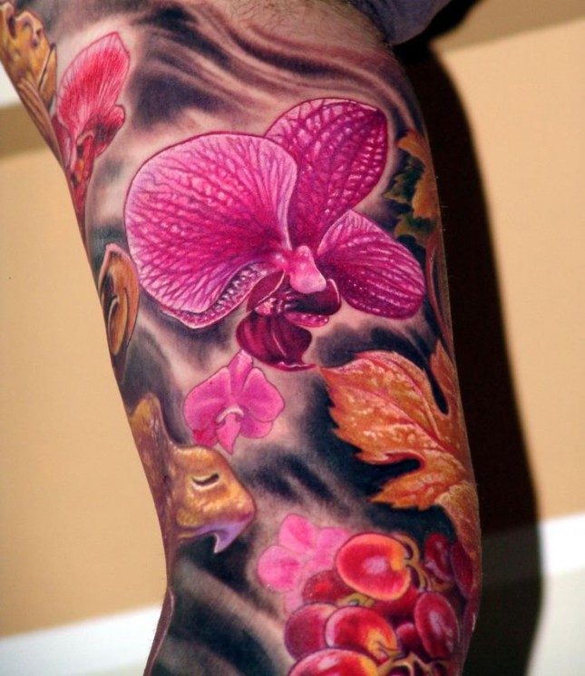 Orchid And Leaves Tattoos On Sleeve