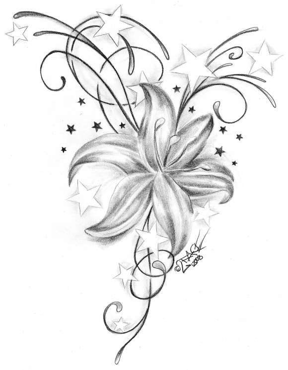 Orchid Flower Outline Tattoo Stencil