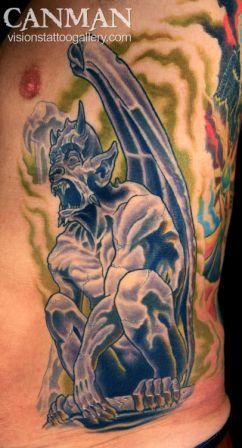 Original Gargoyle Tattoo On Rib Side