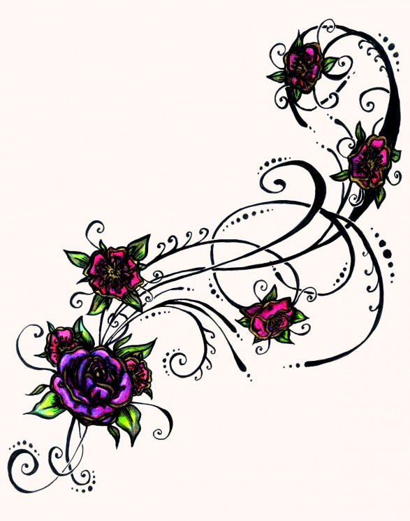 Outline Flower Tattoo Sample