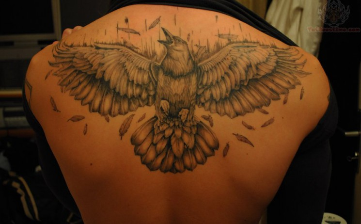 Outline Open Wings Crow Tattoo On Upperback For Men