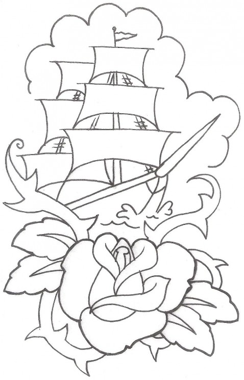 Outline Rose And Ship Tattoos