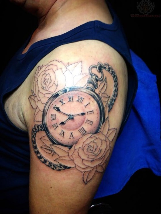 Outline Roses And Clock Tattoos On Shoulder