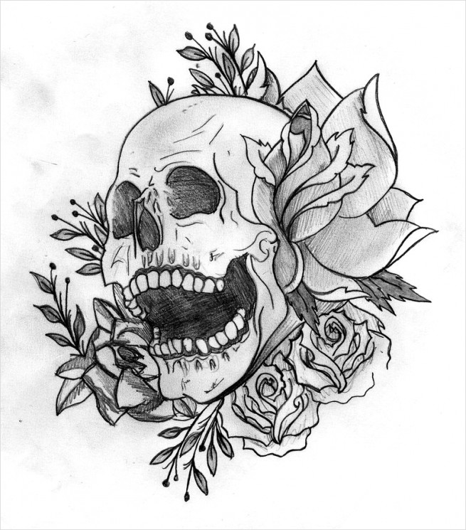 Outline Roses And Pirate Skull Tattoos On Arm